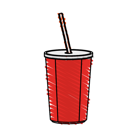 color crayon stripe cartoon plastic soda disposable cup with lid and straw vector illustration