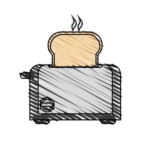 kleurpotlood streep cartoon elektrische brood broodrooster vector illustratie Vector Illustratie