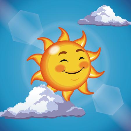 character sun cute face close eyes - cartoon in the blue sky vector illustration