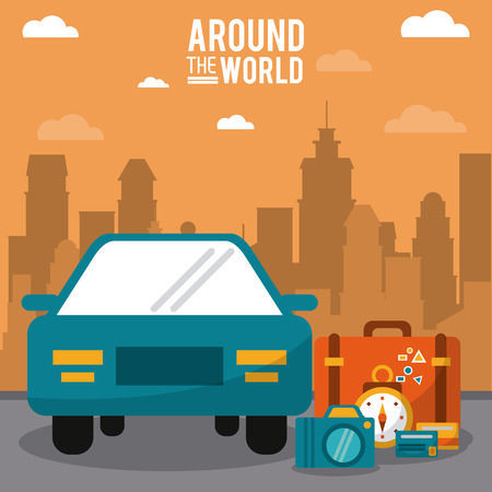 around the world. car vehicle baggage clock credit card with city background vector illustration