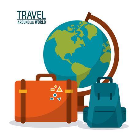 adventurer: travel around the world. globe map backpack suitcase luggage vector illustration