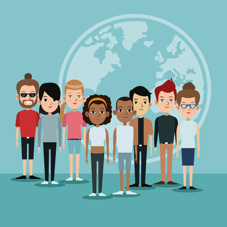 cartoon diversity group people world languages community vector illustration