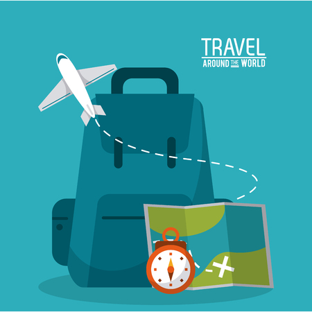 travel around the world backpack time map plane vector illustration
