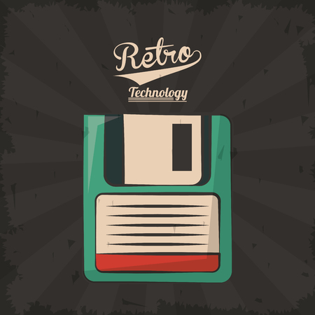 floppy retro backup plastic technology vector illustration