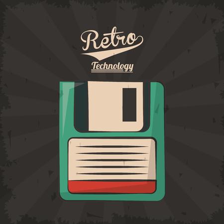 floppy retro backup plastic technology vector illustration
