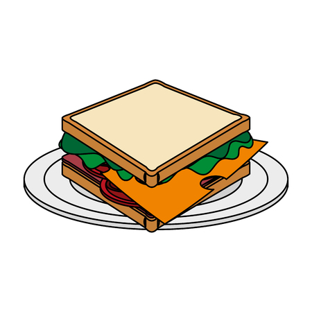 color image cartoon bread sandwich in white dish vector illustration Illustration