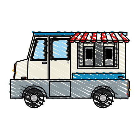 color crayon stripe cartoon food mobile truck vector illustration Vectores