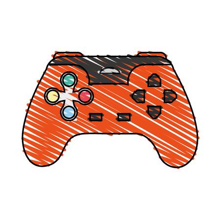 color crayon stripe cartoon control video games vector illustration