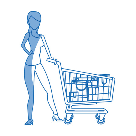 expenditure: silhouette woman cart shopping bag commerce vector illustration