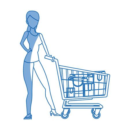mujer en el supermercado: silhouette woman cart shopping bag commerce vector illustration