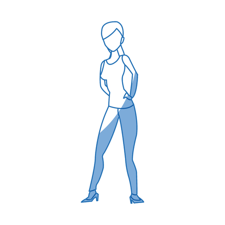 silhouette woman shopping bag commerce vector illustration