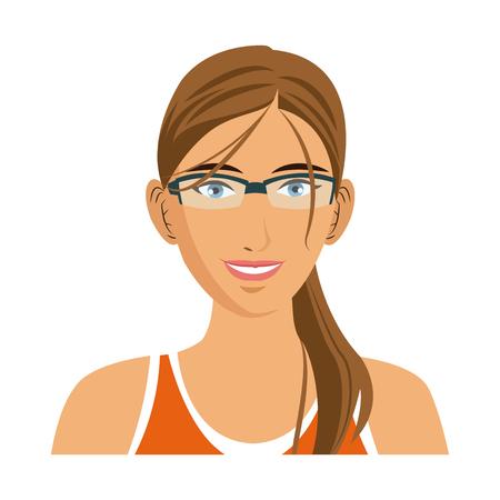 beauty sport woman using smart glasses vector illustration Illustration