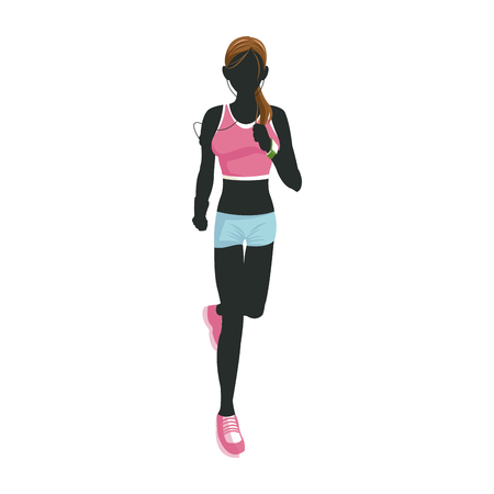 sport woman running with smart glasses wearable technology Illustration