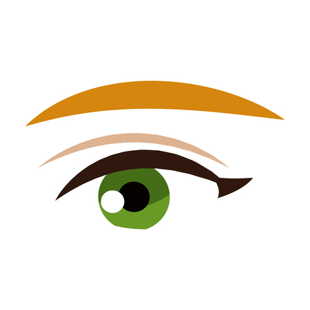 female eye vision optic cartoon vector illustration