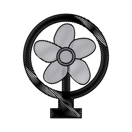drawing electric fan appliance air device vector illustration