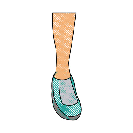 drawing feet sneaker sport shoe design icon vector illustration