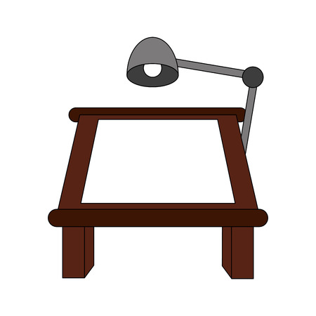 old pc: color image cartoon drawing table with lamp vector illustration