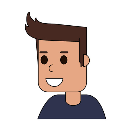 color image cartoon side view half body guy with hairstyle vector illustration Illustration