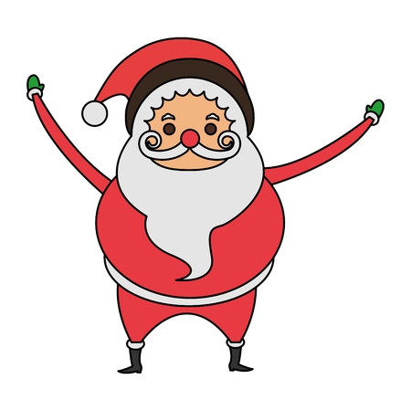 color image cartoon full body fat santa claus vector illustration vector - Pictures Of Santa Claus To Color