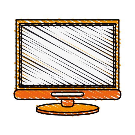 color crayon stripe cartoon front view computer display with base vector illustration