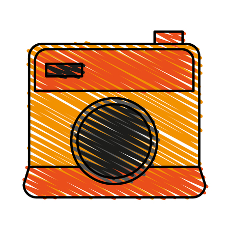 color crayon stripe cartoon analog camera with flash vector illustration Illustration