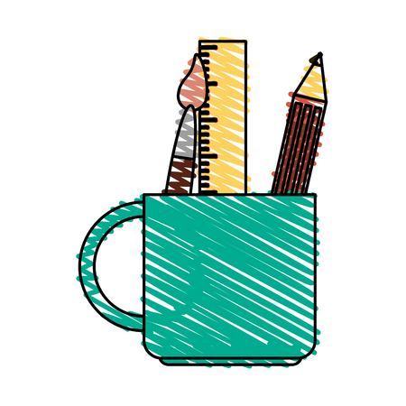 pen and marker: color crayon stripe cartoon pencil holder with brush and ruler vector illustration