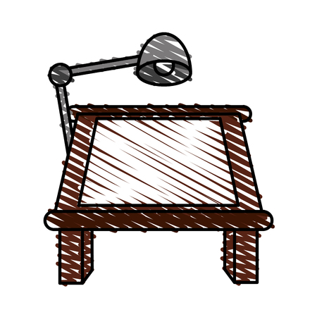 old pc: color crayon stripe cartoon drawing table with lamp vector illustration