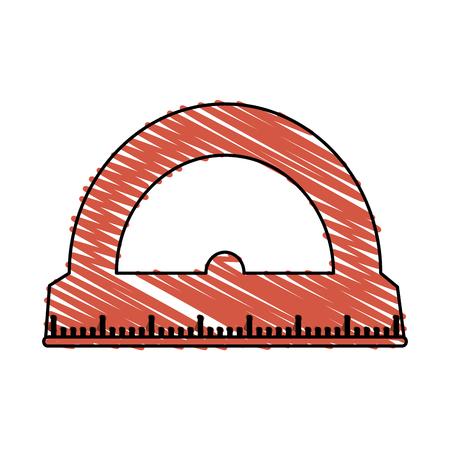 millimeters: color crayon stripe cartoon red rule conveyor for school vector illustration