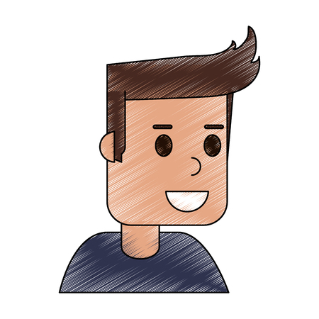 color pencil cartoon side view half body guy with hairstyle vector illustration