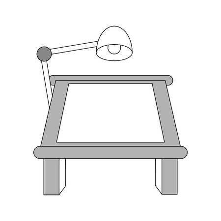 old pc: color silhouette image cartoon drawing table with lamp vector illustration