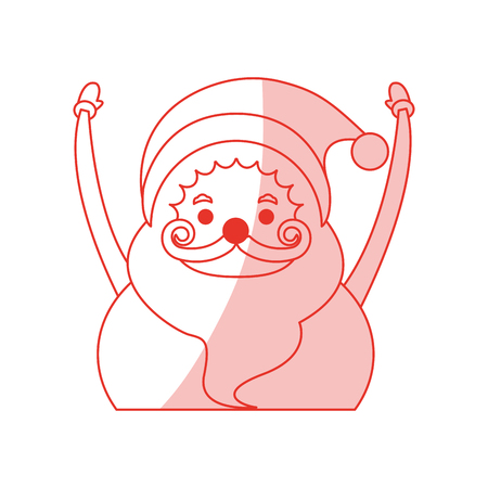 red shading silhouette cartoon half body fat santa claus with hands up vector illustration