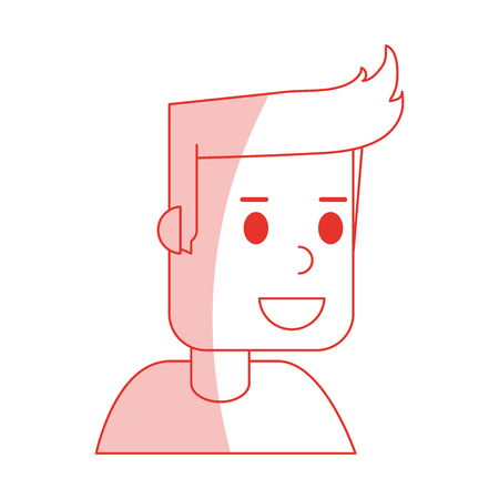 red shading silhouette cartoon side view half body guy with hairstyle vector illustration