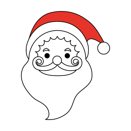 color silhouette image cartoon front view face santa claus vector illustration