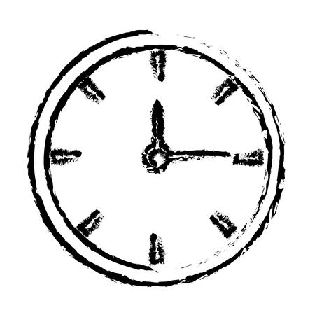sketh clock time hour minute image vector illustration Illustration