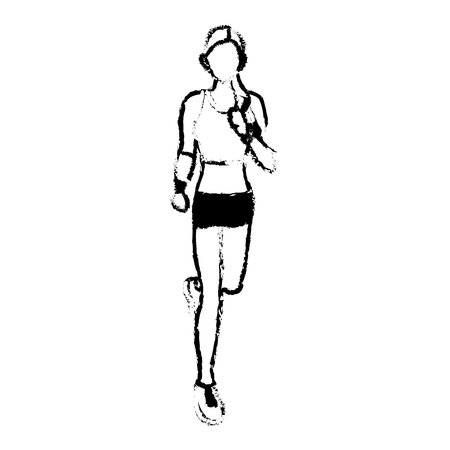 woman cellphone: woman training run with wearable technology headphones sketch vector illustration