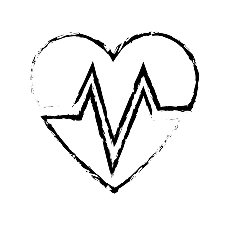 heart beat healthy medicinal cardiology symbol sketch vector illustration