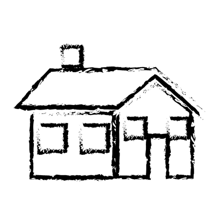 cozy: sketch house home real state architecture vector illustration