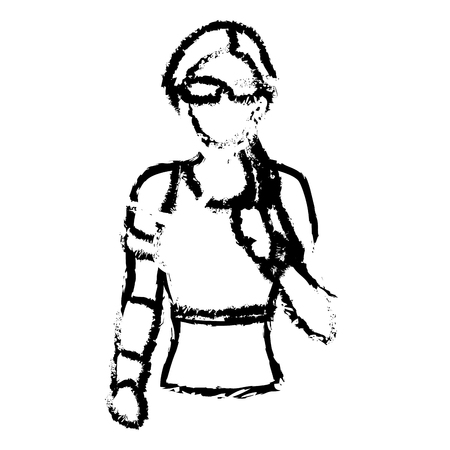 portrait woman wearing smart glasses and earphones sketch vector illustration Illustration