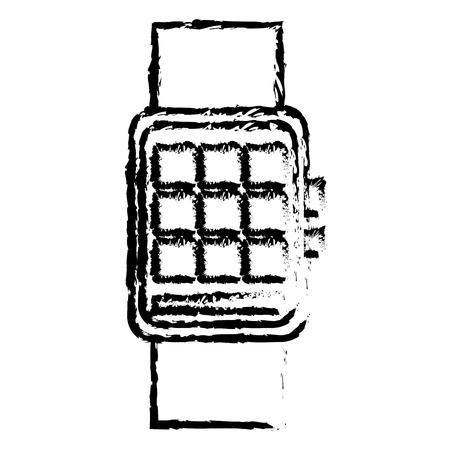 mobile apps: smart watch wearable technology digital display sketch vector illustration