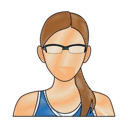 drawing portrait woman sport concept wearing smart glasses vector illustration Illustration