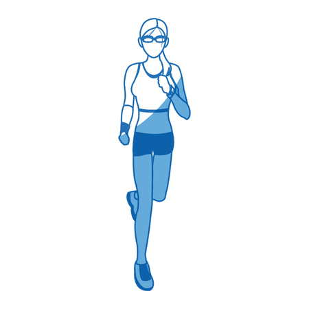 woman run with wearable technology headphones vector illustration Illustration