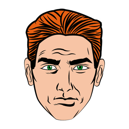 cara hombre arte pop estilo imagen vector ilustración Vectores