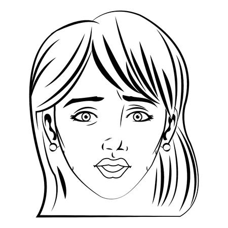 Hubsches Gesicht Frau Frisur Comic Vektor Illustration Lizenzfrei