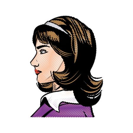 portrait woman beauty character comic style vector illustration Illustration