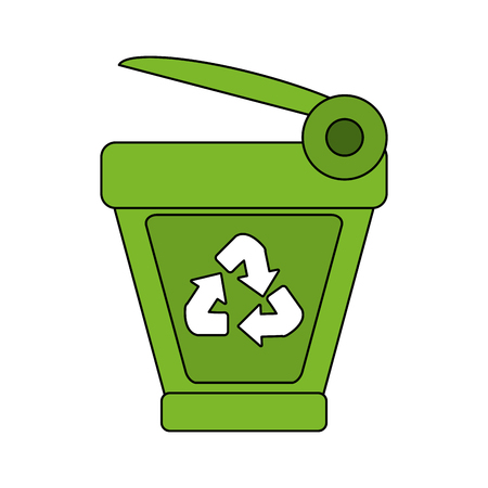 refuse: color image cartoon trash can with recycling symbol vector illustration Illustration