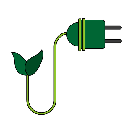 color image cartoon green plug electricity environment design vector illustration Illustration