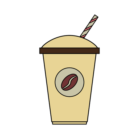 color image cartoon container disposable of coffee with straw vector illustration