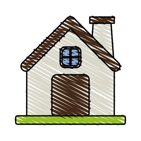 Color crayon stripe cartoon facade comfortable house with chimney vector illustration