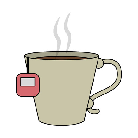 color image cartoon porcelain cup of tea with steam vector illustration Illustration