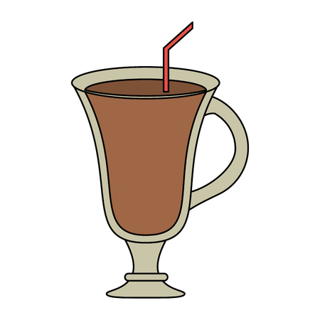 cappucino: color image cartoon glass cup of cappucino with straw vector illustration